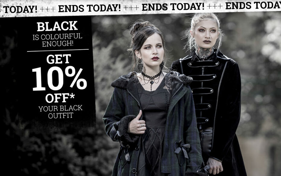 Get 10% off* your black outfit!