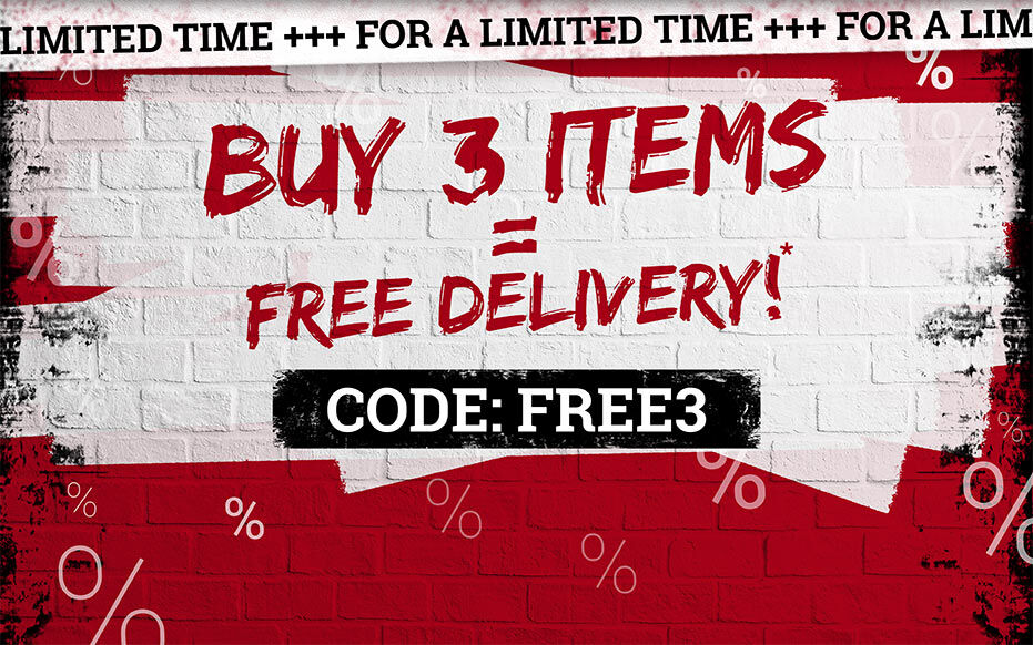 Buy 3 items = free delivery!