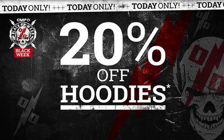 20% off hoodies