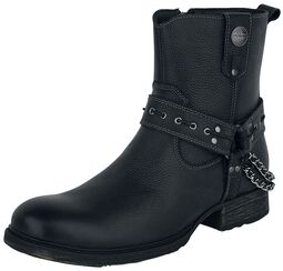 Black Biker Boots with Straps and Chains