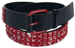Black Premium Belt with Red Studs