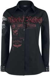 Long sleeve shirt with print and rivets