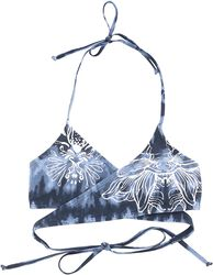 Blue/White Wrap-Look Batik Bikini Top with Print