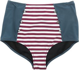 Tri-Colour High Waist Bikini Bottoms with Stripes and Buttons