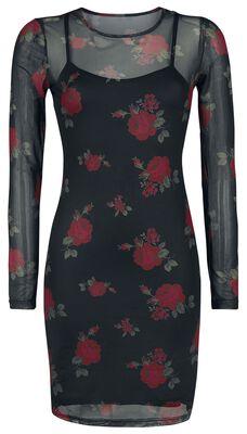 2 in 1 Mesh Roses Dress