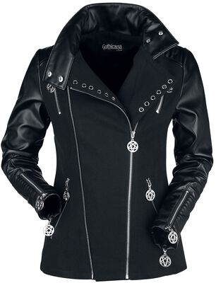 Black Gothic Biker-Style Jacket with Decorative Eyelets