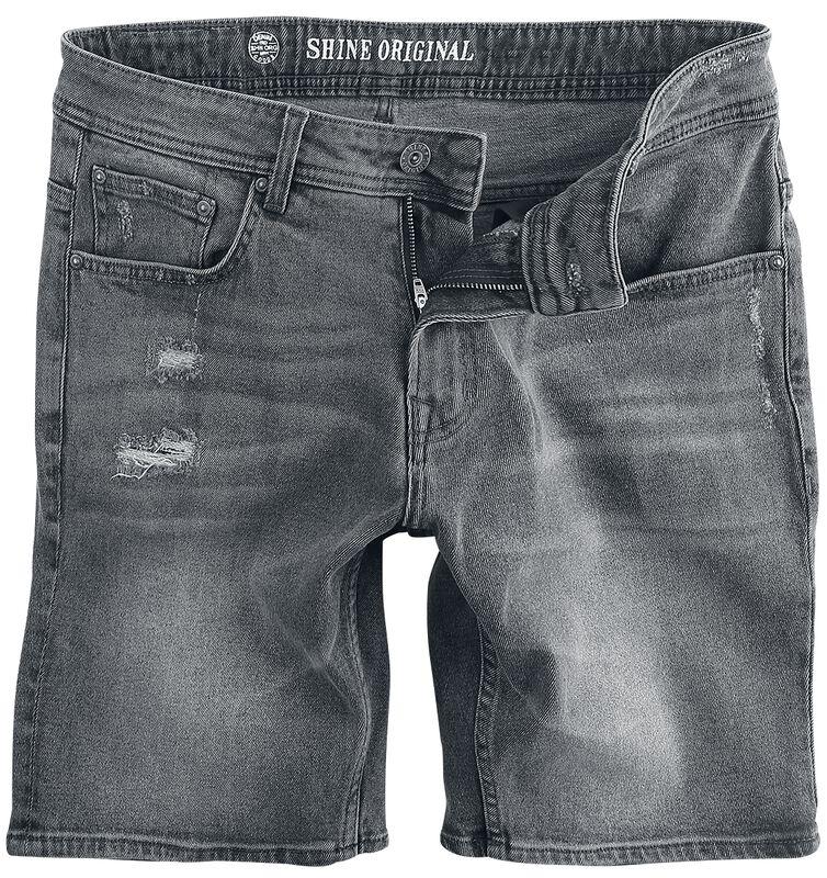 Loose Fit Denim Shorts Metal Grey