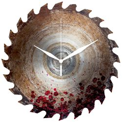 Glass Wall Clock Saw Blade With Blood