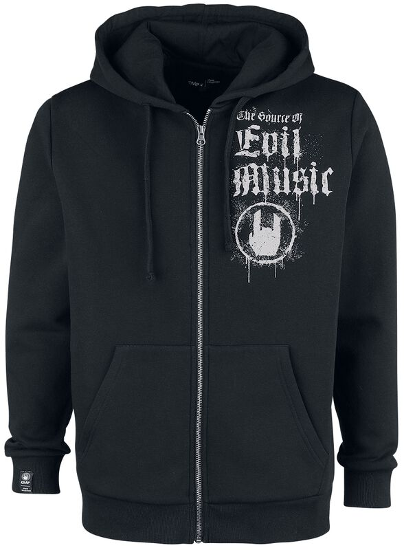 Black Hooded Jacket with Rockhand Print and Lettering