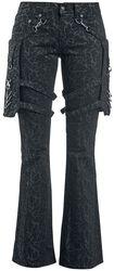 Nicki - Schwarze Hose mit Alloverprint und abnehmbaren Taschen