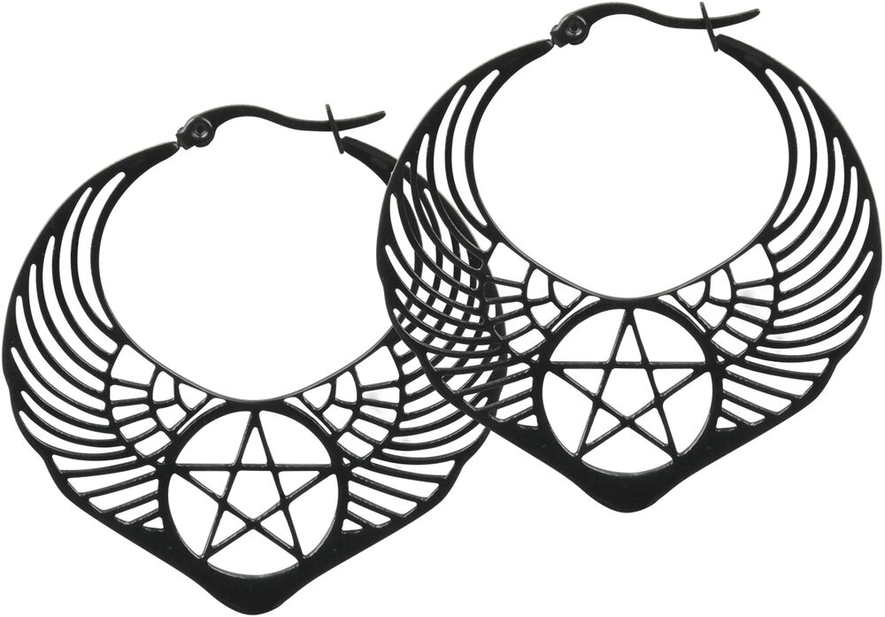 Winged Pentagram Hoops
