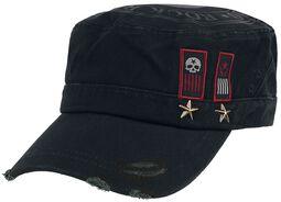 Schwarze Army-Cap mit Print, Aufnähern und Nieten