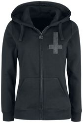 Hooded Jacket with Print and Rhinestones