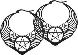Winged Pentagram Hoops