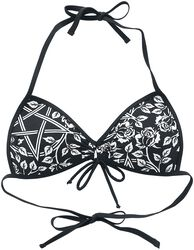 Black Bikini Top with Pentagrams and Roses