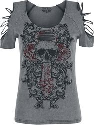 graues T-Shirt mit Waschung und Cut-Outs
