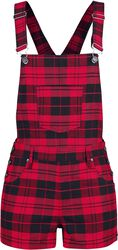 Black/Red Checked Dungaree Shorts