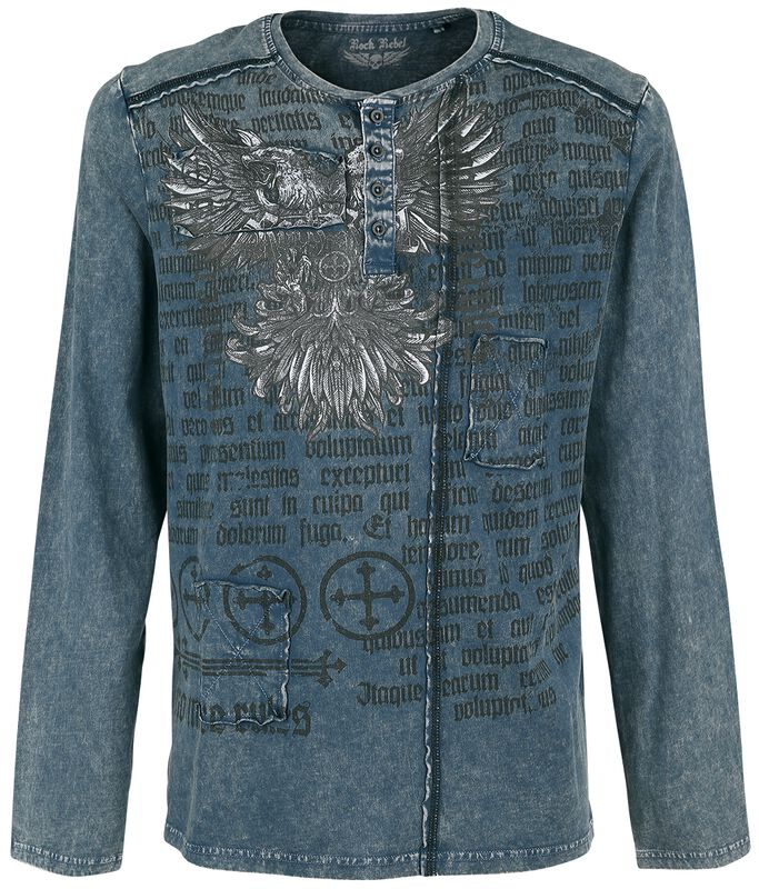 Blue Long-Sleeve Shirt with Wash and Print