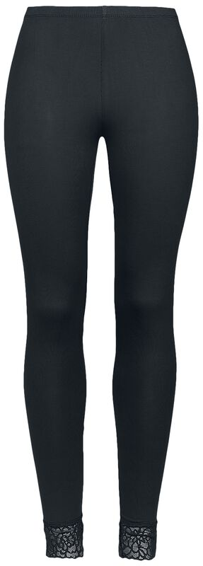 Black Leggings with Lace Seam Black Premium