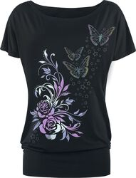 Black T-shirt with Print and Boat Neckline