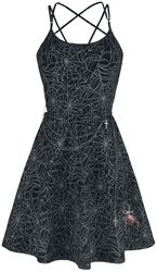 Gothicana X Anne Stokes - Short Black Dress with Print and Chain Belt