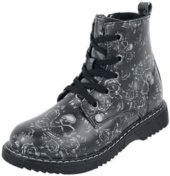 Black Lace-Up Boots with Skull and Roses Print