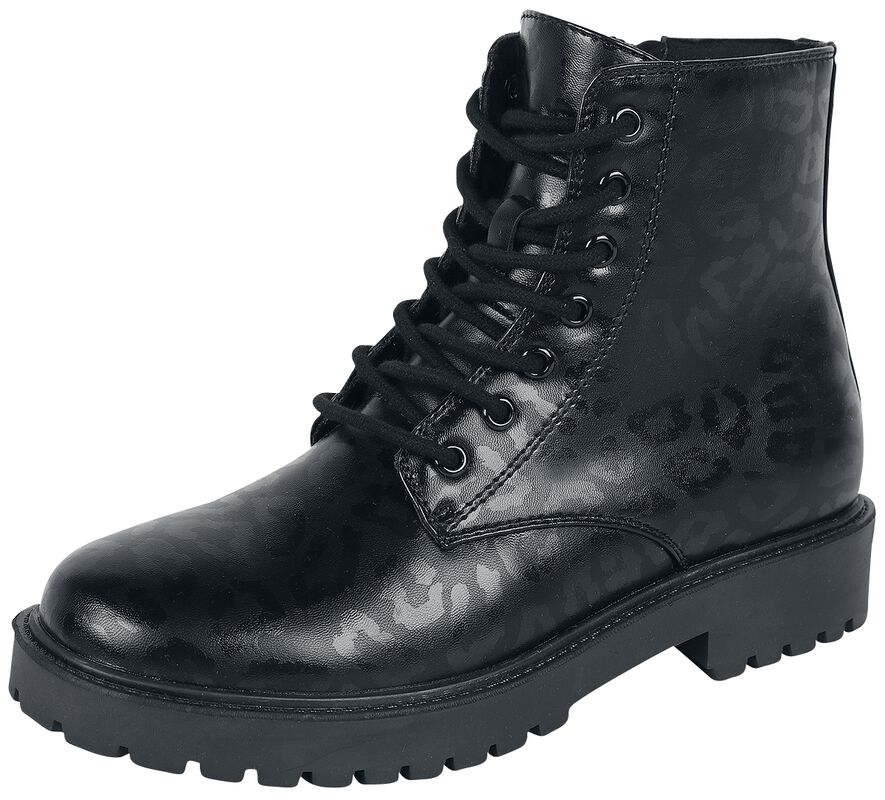 Black Lace-Up Boots with Animal Print
