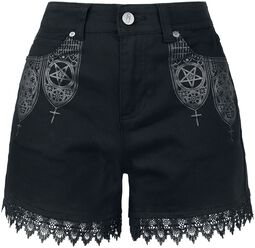Black Shorts with Lace and Print