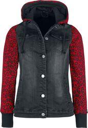Black/Red Between-Seasons Jacket with Animal Print