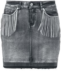 Grey Denim Skirt with Rhinestone Chains