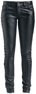 Faux Leather Trousers With Lacing