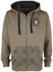 Rock Rebel X Route 66 - Green Hooded Jacket with Prints, Embroidery and Eyelets