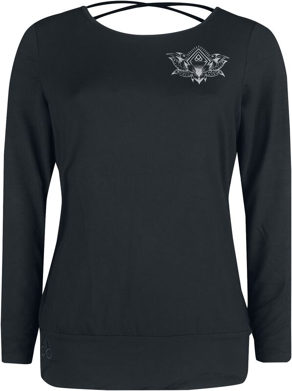 Sport and Yoga - Black Long-Sleeve Top with Detailed Print and Back Detail