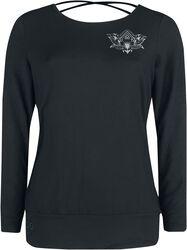 Sport und Yoga - Schwarzes Langarmshirt mit detailreichem Print und Rückendetail