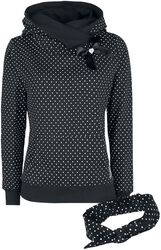 Dots sweater with scarf collar