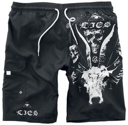 Black Swim Shorts with Occult Prints