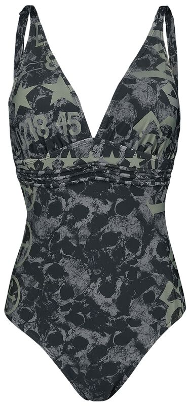 Black Swimsuit with Skull Pattern and Prints