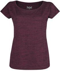 Lila T-Shirt in Melange-Optik