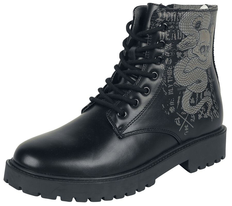 Black Lace-Up Boots with Snake Print