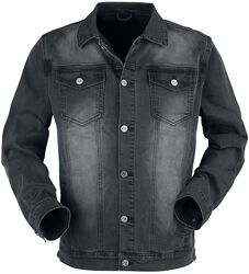 Dark grey jacket with chest pockets and button placket