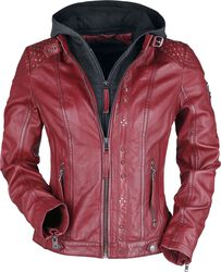 Red Leather Jacket with Grey Hood and Studs