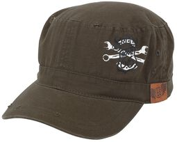 Rock Rebel X Route 66 - Green Army Cap with Print and Patch