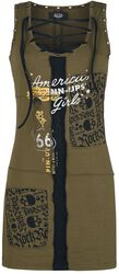 Rock Rebel X Route 66 - Green Dress with Lacing and Prints