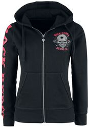Black Hooded Jacket with Print