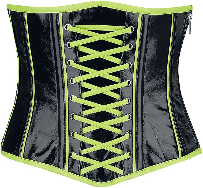 Black Under-Bust Corset with Neon-Coloured Details