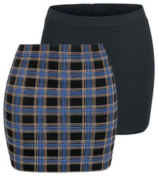 Short Checked and Black Skirts with Elastic Waistband