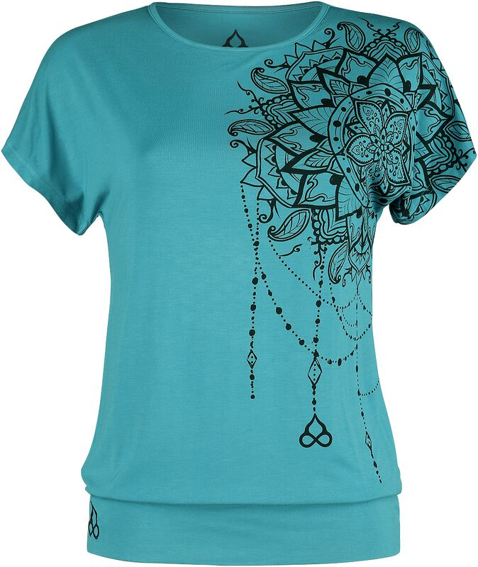 Sport and Yoga - Casual Turquoise T-shirt with Detailed Print