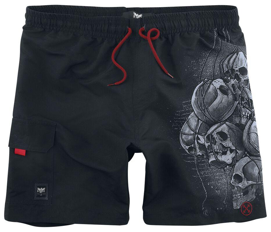 Black Swim Shorts with Side Skull Print