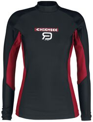 RED X CHIEMSEE - Black Swimshirt with Logo Print