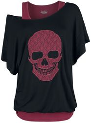 Black Shirt and Red Top with Print